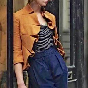 Tabitha Anthropologie Mustard Wool Coat Size 10